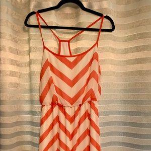 Peach and Cream Maxi Chevron Dress